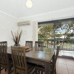 Dining room with balcony view